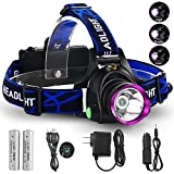 GRDE 3 Mode LED Headlamp Headlight Forehead Flashlight Head Torch for Outdoor Camping Fishing Hunting Running Hiking