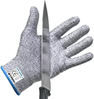 Cut Resistant Gloves by Stark Safe (1 Pair ) Food Grade Level 5 Protection, Safety Kitchen Cut Gloves for Fish Fillet Processing, Oyster Shucking, Mandolin Slicing, Meat Cutting and Wood Carving
