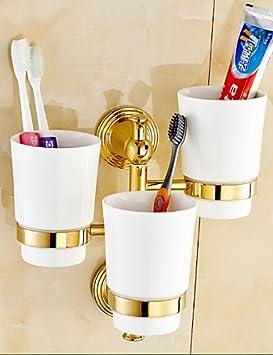 Accesorios de baño QMM,0.5 Soporte para Cepillo de Dientes / Gadget para Baño , Contemporáneo Ti-PVD Montura en Pared , golden: Amazon.es: Hogar