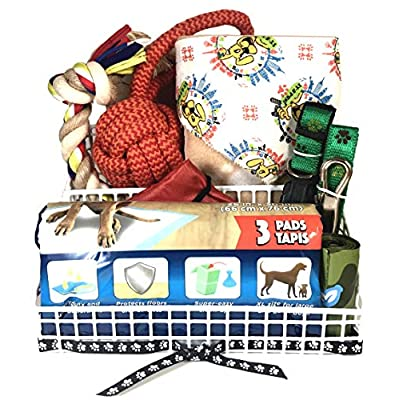 9-Pc-Dog-Gift-Basket-for-Sm-to-Med-Dog-Includes-Green-Paw-Print-Collar-and-Leash-Set-30-x-21-Paw-Print-Blanket-Bandana-2-Toys-Folding-Travel-Bowl-Three-Pet-Pads-and-Waste-Bag
