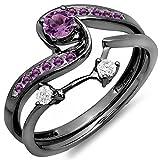 Dazzlingrock Collection Black Rhodium Plated 10K White Gold Round Diamond & Amethyst Ladies Swirl Bridal Engagement Ring Set