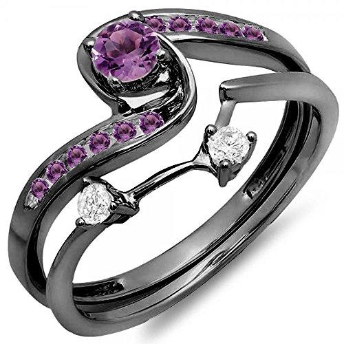 - Black Rhodium Plated 10K White Gold Round Diamond & Genuine Amethyst Bridal Engagement Ring Set