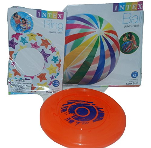 Beach and Pool Combo Fun Pack 42in Jumbo Beach Ball Water Ring and Frisbee Summer Fun in one pack