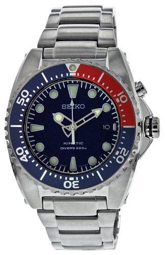 Seiko Men's SKA369 Kinetic Diver's Blue Dial, Red & Blue Bezel 200m Watch