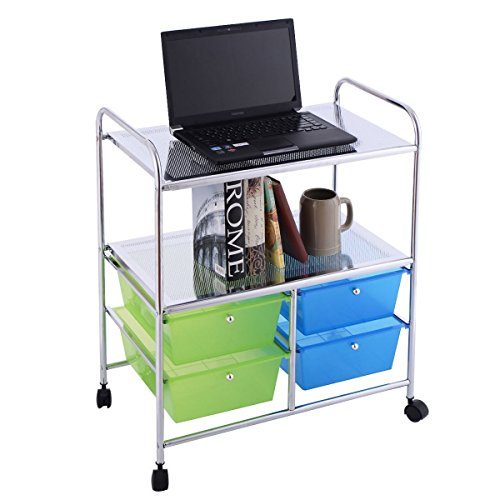 Apontus 4 Drawers Rolling Storage Cart Office Home Multi Purpose by Apontus