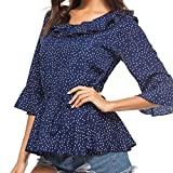 Spbamboo Womens Dot Round Neck Speaker Seven Quarter Sleeve T-Shirt Tops Blouse
