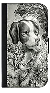 Vintage Puppy- Apple Iphone 5 (NOT 5C) -Wallet Case with Flip Cover and Magnetic Clasp-Leather-Look Outer Shell with Inner Soft Black Rubber Lining