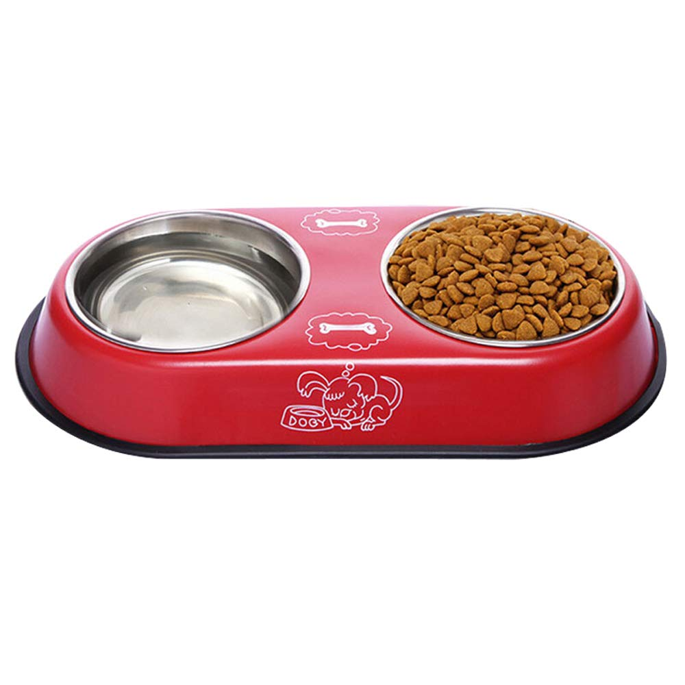 RED Pet Bowl Pet Double Bowl Stainless Steel Bowl Dog Cat Bowl Pet Rice Bowl Small Pet (color   RED)