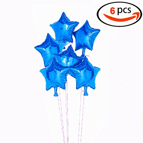 AZOWA Star Balloons Star Shaped Foil Mylar Helium Balloons Blue Party Balloon Decorations for Birthday Wedding Baby Shower(18'', Blue, 6 Pcs) (Balloon Bouquet Shaped)
