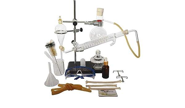 NSDFG Química de Vidrio de Laboratorio Unidad de Destilación La destilación del Agua destilada purificador de Cristal 250ML: Amazon.es: Hogar
