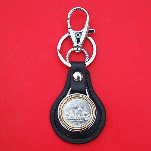 (US 2000 Virginia State Quarter BU Uncirculated Coin Gold Silver Two Tone Leather Key Chain Ring NEW)