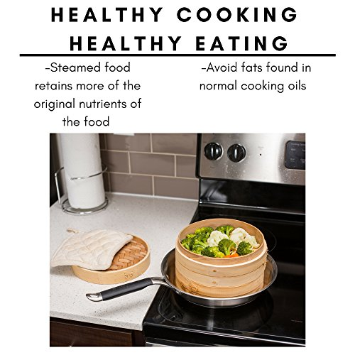 BirdRock Home 10 Inch Bamboo Steamer | Classic Traditional Design | Healthy Cooking | Great for dumplings, vegetables, chicken, fish | Steam Basket | Natural by BirdRock Home (Image #1)