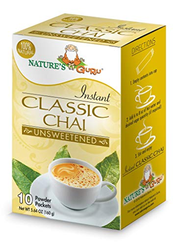 Nature's Guru Instant Classic Chai Tea Drink Mix Unsweetened 10 Count Single Serve On-the-Go Drink Packets (Pack of 8) from Nature's Guru