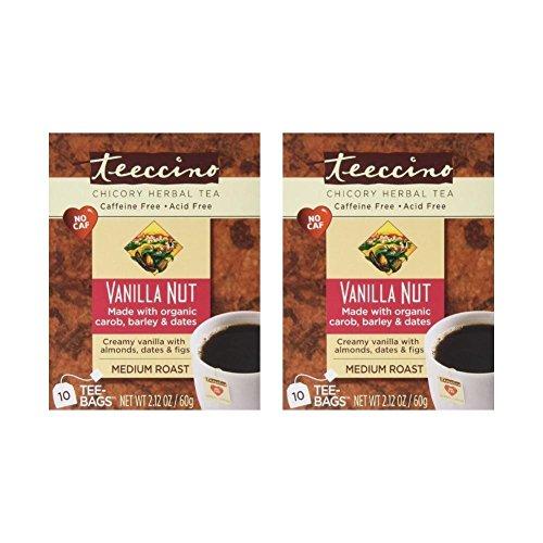 Teeccino - Vanilla Nut 75% Organic Herbal Coffee Medium Roast Caffeine Free - 10 Tee Bags (Pack of 2) -