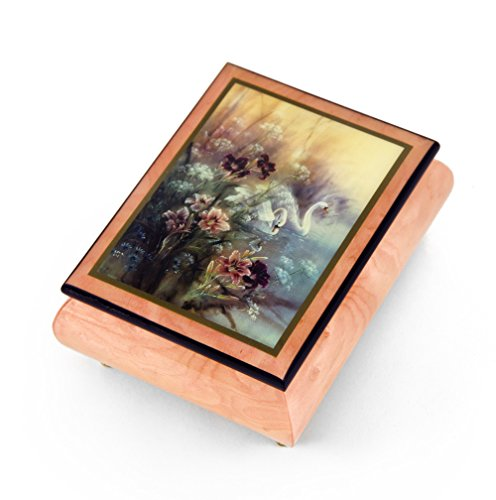 Handcrafted Ercolano Music Box Featuring Swan with Daylilies by Lena Liu - English Country Garden ()