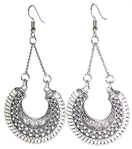- LiveSublime Antiqued Silver Bali Inspired Hoop Dangle Earrings (white)