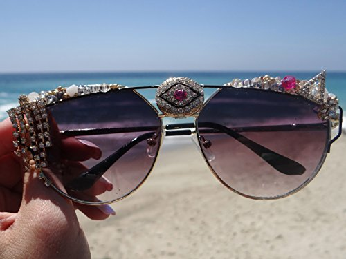 Valentines Sale! Evileye Sunglasses, By: Star Stuff Boutique, Decorated Sunnies, Pink All-seeing eye Shades, Jeweled Eyewear, Burningman Sunglasses, Rave, Rave Outfit, Rave - Eye Eyewear Stuff