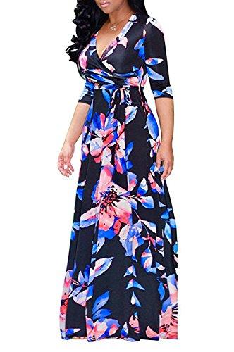 - Locryz Women's Floral Print V Neck 3/4 Sleeve Wrap Party Prom Long Maxi Dress with Belt (L, Navy)