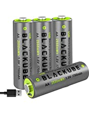 Blackube USB Rechargeable AA Batteries - 4A High Out PutA Lithium/Li-ion Battery 1.5V/1700mAH - High-Capacity Long-Lasting Power Quick Charge with 2 Hours (4-Pack AA)