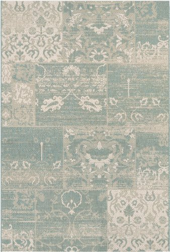 Sea Cottage (Couristan Afuera Country Cottage Rug, 3-Feet 11-Inch by 5-Feet 7-Inch, Sea Mist/Ivory)