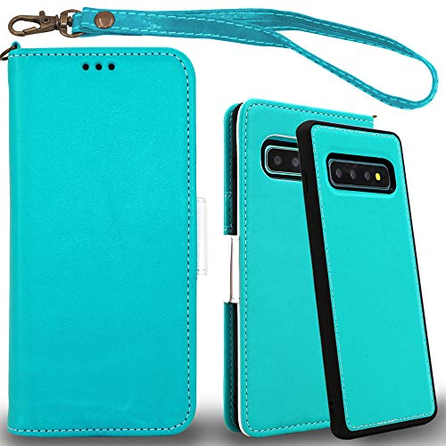 Mefon Galaxy S10 Plus Wallet Case Leather Detachable, Durable Slim, Enhanced Magnetic Closure, with Wrist Strap, Card Slot, Kickstand, Luxury Flip Folio Cases for Samsung Galaxy S10+ (Turquoise) (Wallet For Women Turquoise)