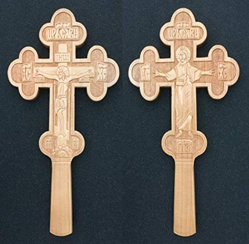Double-Sided Ritual Cross. Orthodox Carved Wooden Altar Hand Blessing Cross Crucifix/Resurrection *JESUS CHRIST*