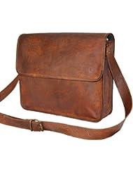 Urban Dezire Leather Half Flap Messenger Bag Laptop Padded School Bag 15X11X4