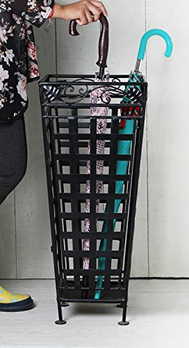 Christmas Gifts Metal Umbrella Stand Canes Walking Stick Holder Storage Rack in Black Cage Design Furniture 13 x 13 x 28.5 Inches by Store Indya
