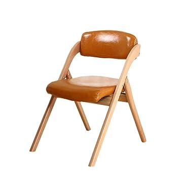 LTM Folding chair LT Silla Plegable Madera Maciza Cuero PU ...