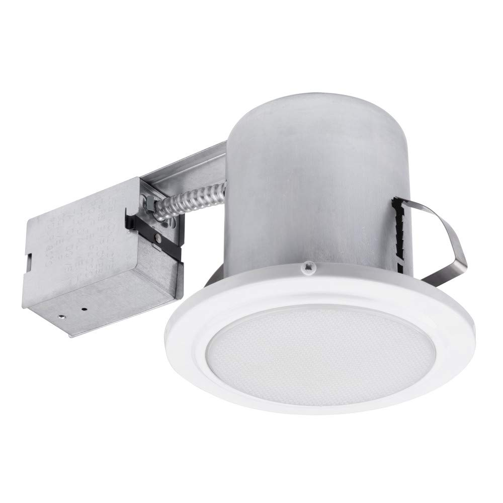 5'' Bathroom Shower Dimmable Downlight Recessed Lighting Kit, Tempered Frosted Glass, Easy Install Push-N-Click Clips, Globe Electric 90036