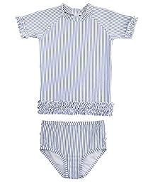 RuffleButts Infant / Toddler Girls Blue Striped Seersucker Rash Guard Bikini - Periwinkle Blue Seersucker - 18-24m