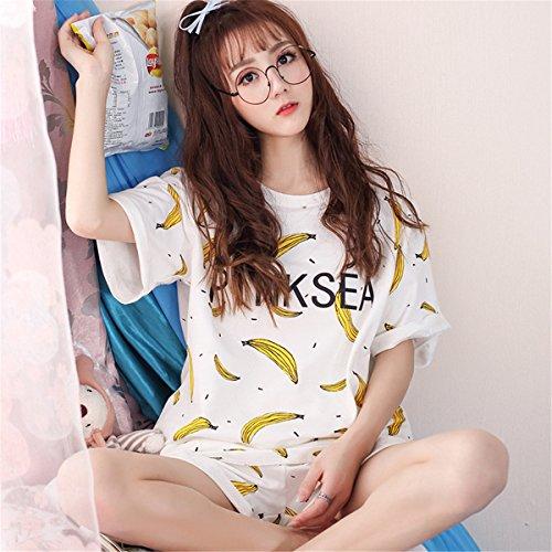 Stampa Estive CarinaCotone Maglietta Pigiama Motivi clothing Frutta Pigiami pezzi due Donna Shorts COCO Manica Banana Corta PwZOq7wp