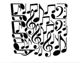 42 Music Notes (W20) Wall Decal Sticker Arts and Crafts/Mission Black and GreenStar