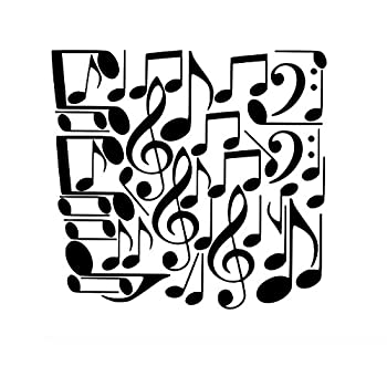 E Music Notes Wall Decals Removable Music Wall Stickers Black