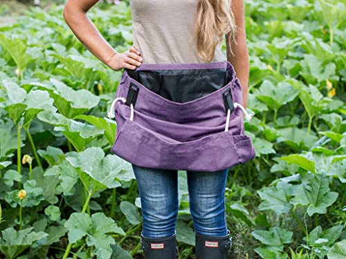 Roo Garden Apron -The Joey - Gardening, Work and Harvesting Tool Belt with Storage Pockets and Canvas Pouch - Womens One Size Fits All - Cotton Canvas, Machine Washable -Purple Orchid