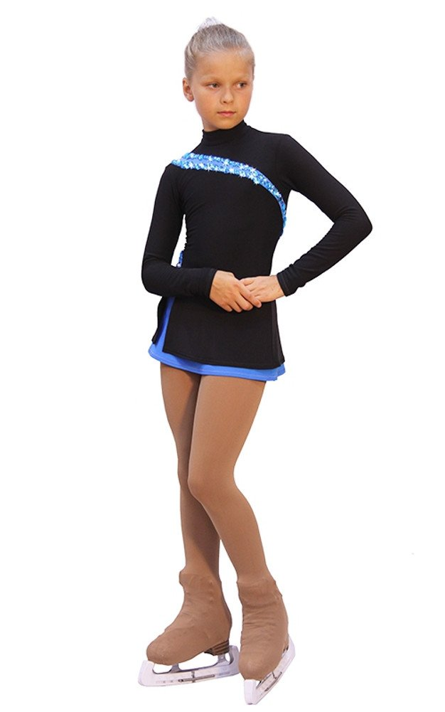 IceDress - Figure Skating Dress - Lasso(Black with Blue) (AM) by IceDress