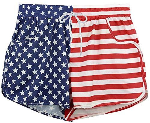 (American USA Flag Shorts Side Split Shorts Swimwear Running Shorts Beach Shorts for Women(1,XL))