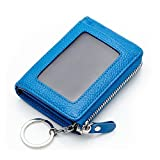 MuLier Womens Card Holder ID Card Case Girls Wallet with Detachable Key Ring (Blue)