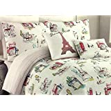 Cynthia Rowley Paris in Color 3-Piece Full/Queen REVERSIBLE Duvet Cover Set | Features Paris Street Scenes Including Eiffel Tower