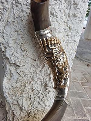 Shofar Yemenite Kudu Horn 38''+ with Sterling Silver Plated Lion of Judah + Menorah