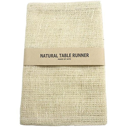 Kel-Toy Burlap Jute Table Runner/Fold and Sew Edge, 14 by 72-Inch, Ivory ()