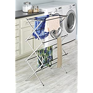 Whitmor 11 Bar Clothes Drying Rack with Top Shelf - Indoor and Outdoor - Foldable - Chrome