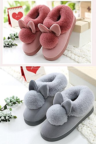 Minetom Damen Winter Baumwolle Pantoffeln Dickere Wärme Plüsch Kuschelige Hasenohren Home Hausschuhe Anti Rutsch Slippers A- Herren Schwarz