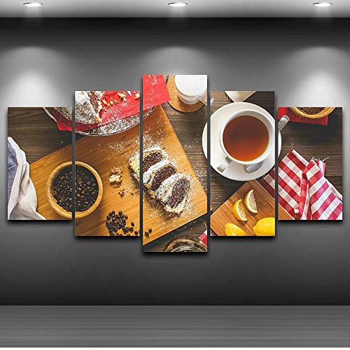 Price comparison product image Alasijia Canvas Pictures Kitchen Wall Art Home Decor Restaurant Frame 5 Pieces Fruits Foods Coffee Cake Painting Modern HD Printed Poster-40CMx60 / 80 / 142CM