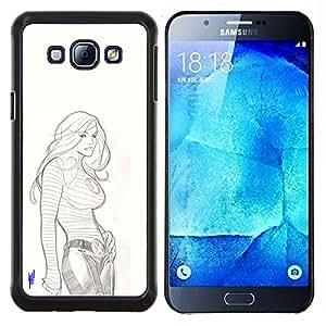 YiPhone /// Prima de resorte delgada de la cubierta del caso de Shell Armor - Pechos Grandes Mujer dibujo a lápiz el dibujo del arte - Samsung Galaxy A8 A8000