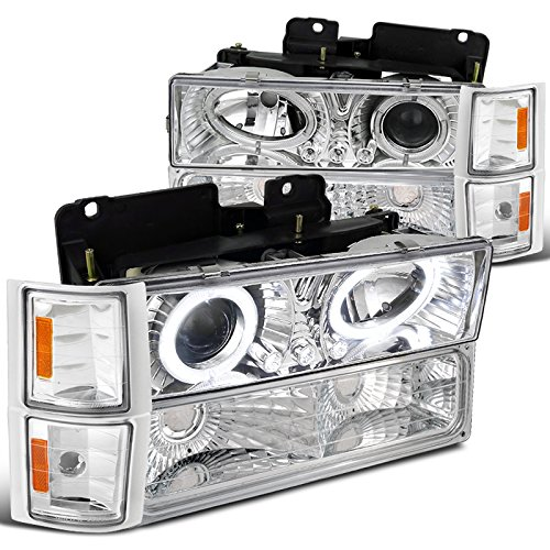 Chevy C10 C/K Tahoe Silverado Halo LED Chrome Projector Headlights+Corner Bumper 91 Chevy Suburban Window