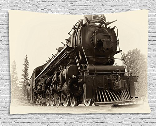 Ambesonne Steam Engine Tapestry Wall Hanging, Antique Northren Express Train Canada Railways Photography Freight Machine Print, Bedroom Living Room Dorm Decor, 60 W X 40 L inches, Tan Dark (Train Engine Wall)