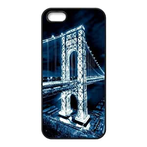 IPhone 5,5S Cases George Washington Bridge Night, IPhone 5,5S Cases Bridge for Boys, [Black]