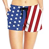 America Flag Womens Hipster Elastic Waist Shorts Breathable Lightweight Beach Shorts
