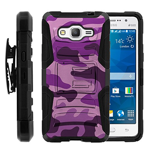 Galaxy Grand Prime Case, Galaxy Grand Prime Holster, Two Layer Hybrid Armor Hard Cover with Built in Kickstand for Samsung Galaxy Grand Prime SM-G530H, SM-G530F (Cricket) from MINITURTLE | Includes Screen Protector - Purple Camouflage